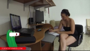 Nude babe is suposed to be studying intensely, but if she has a partner right now, she will suck