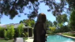 Naughty blonde rich girl gets drilled in the backyard