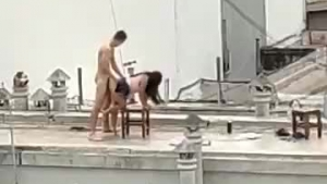Mom and teen sag naked on the roof