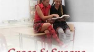 Two busty schoolgirls swumping on hot lesbian threesome