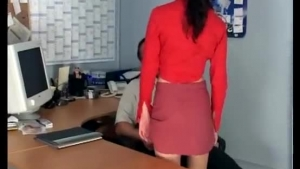 Great looking all nude secretary does her desk